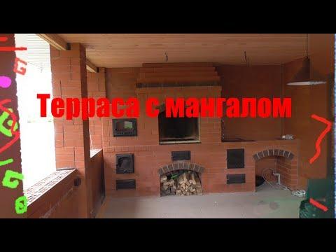Терраса с печью-мангалом и планировка навеса