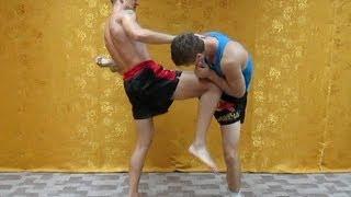 Защита от мидл кика из Муай Тай для самообороны