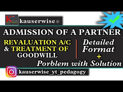 Admission of a Partner [#2] [Revaluation Account & Treatment of Goodwill] in Partnership Accounting