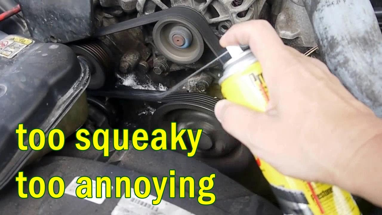 how i fix annoying serpentine belt squeak noise with belt dressing spray [ 1280 x 720 Pixel ]