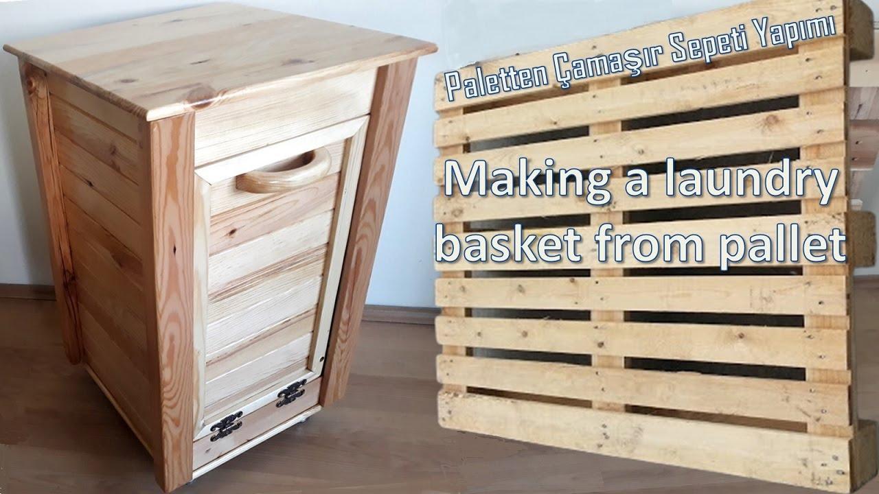 Paletten çamaşır sepeti yapımı / Making a laundry basket from pallet / Diy  / pallet wood cabinet