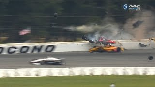 IndyCar Series 2018. Pocono Raceway. Robert Wickens Huge Crash Red Flag (All Angles)