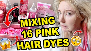 MIXING 16 DIFFERENT PINK HAIR DYES & DYING MY HAIR WITH IT!!! *is this the PERFECT shade of pink?!*