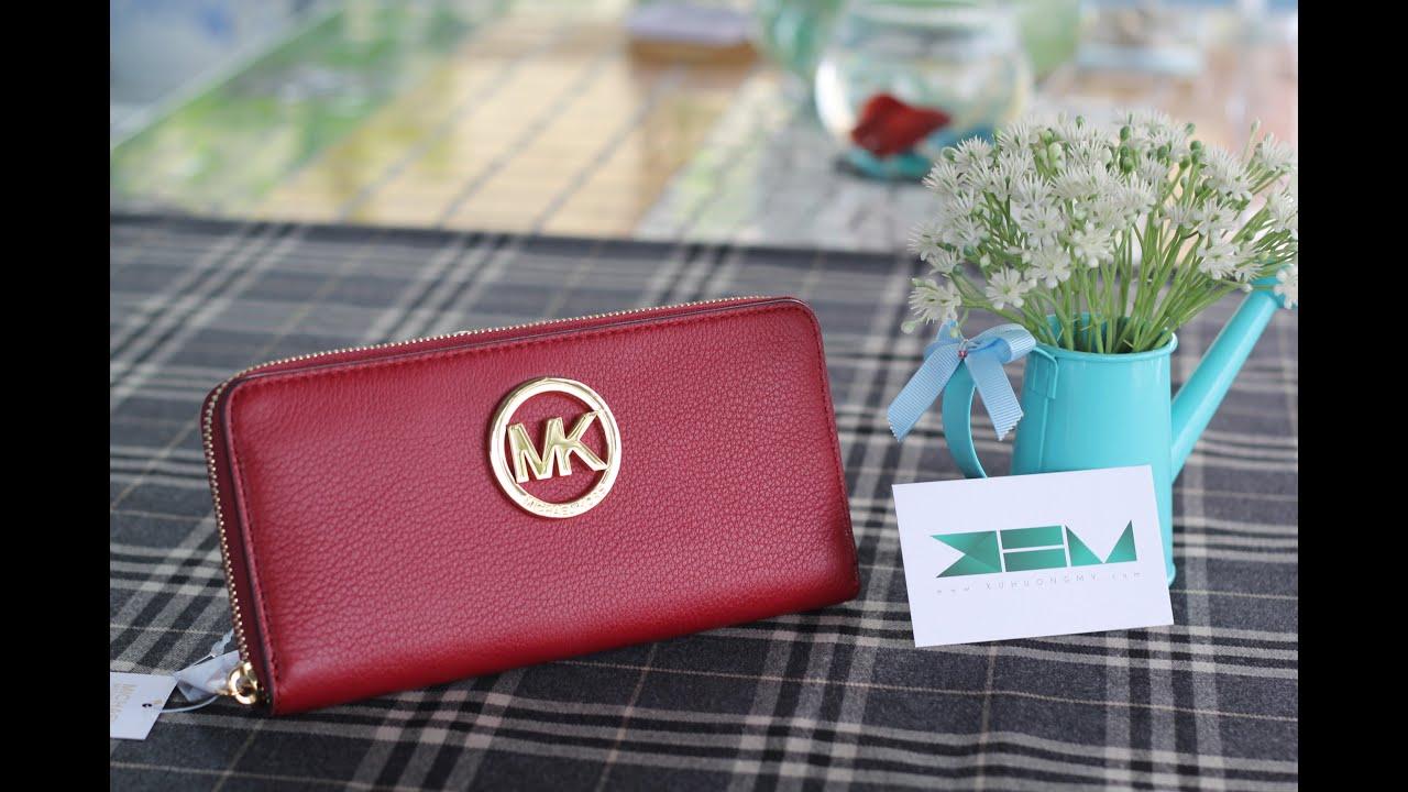 998f62817421 Trên Tay Chiếc Ví Michael Kors - Fulton Zip Around Continental Wallet Màu  Cherry