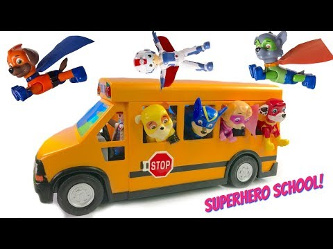 Paw Patrol Rides School Bus to Superhero Super Pup School Wheels on the Bus Song | Fizzy Fun Toys