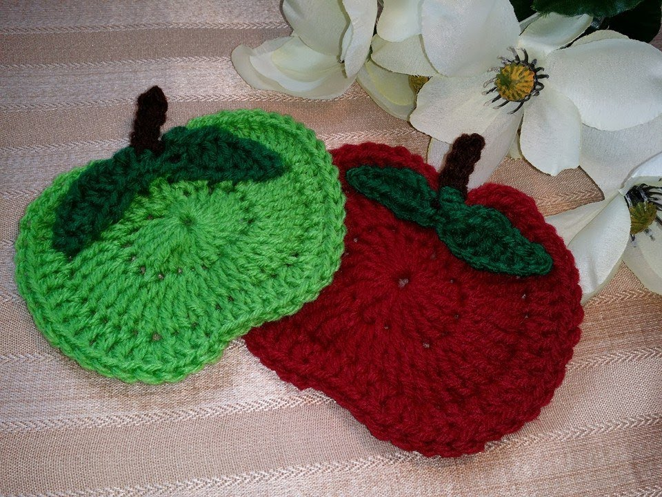 How To Crochet Glama\'s Apple Orchard Coasters - YouTube