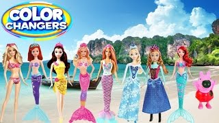 Color Change Dolls! Little Mermaid Sisters Anna Elsa Ariel Barbie Peppa Polly Dolls Color Changers