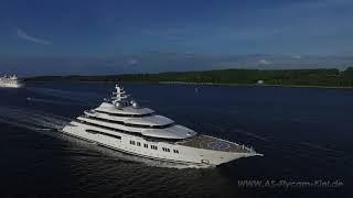 Mega Yacht Mistral auf Erprobungsfahrt in der Kieler Förde