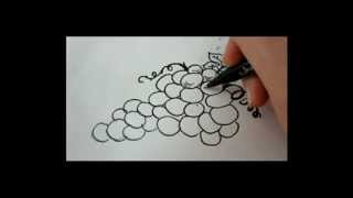 How To Draw Grapes - How To Draw Fruit - for beginners