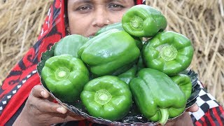 Village Food Farm Fresh Capsicum Recipe Village Style Tasty & Delicious Fresh Capsicum Fry Cooking