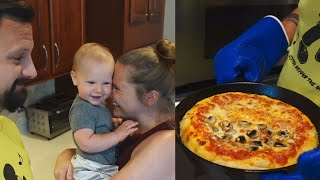 Making Pizza In A Cast Iron Skillet, New Mask Reviews & Cute Baby Playtime! | Home Vlog