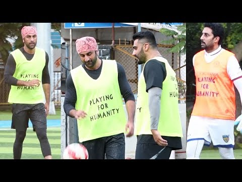 Ranbir Kapoor, Abhishek Bachchan, Arjun Kapoor & Other Celebs Playing Football Match