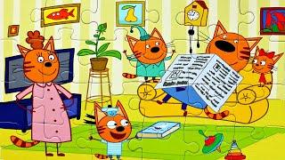 ТРИ КОТА  играют с ПАПОЙ - собираем пазлы для детей с героями мультика 3 кота | Danik and Lesha