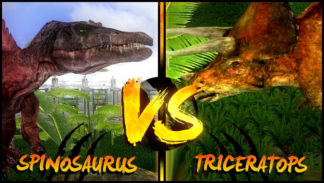 Dinosaur battles spinosaurus vs triceratops jurassic park operation genesis youtube - Spinosaurus jurassic park ...