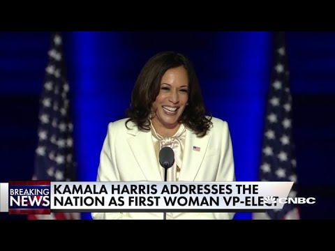 Kamala Harris Celebrates A New Day For America Ahead Of Biden S First Speech As President Elect Youtube