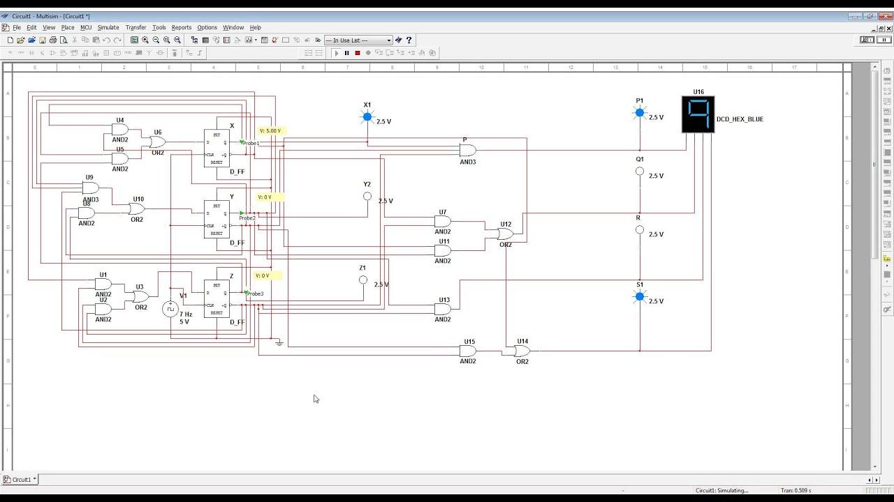 multisim simulation - counter 4 bit - d type