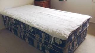 DIY King Single Bed Mattress Protector refashioned from a duvet inner.