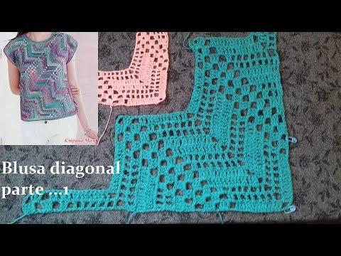 Blusa diagonal en crochet (parte 1)
