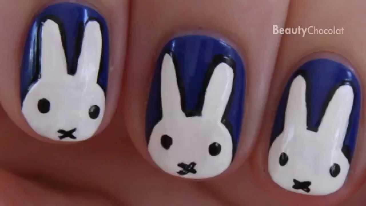Miffy Nail Art Cute Bunny Nails Youtube