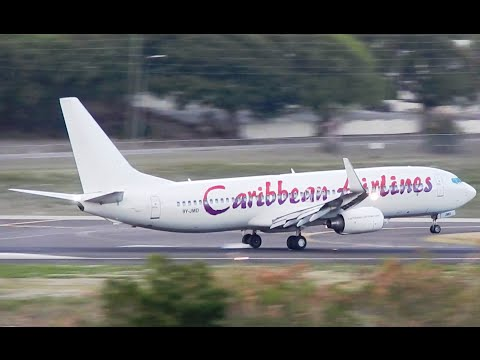 Caribbean Airlines B738 Landing in Antigua & Taxi into Gate 3 [HD]