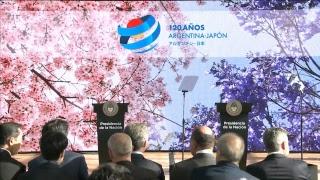El presidente Mauricio Macri recibe al primer ministro de Japón, Shinzo Abe.