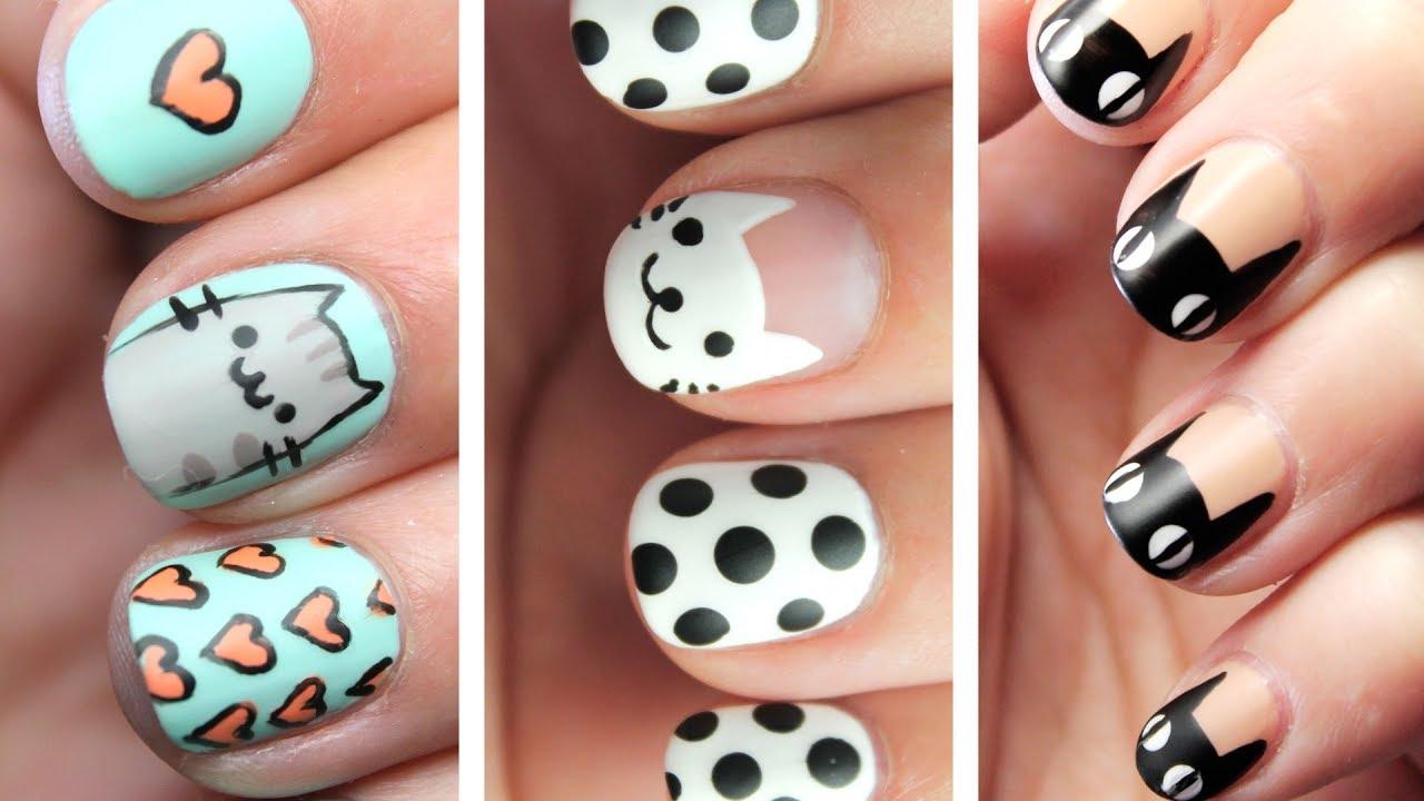3 Lindos Diseños De Uñas De Gatos Ideas De Nail Art Fácil Youtube