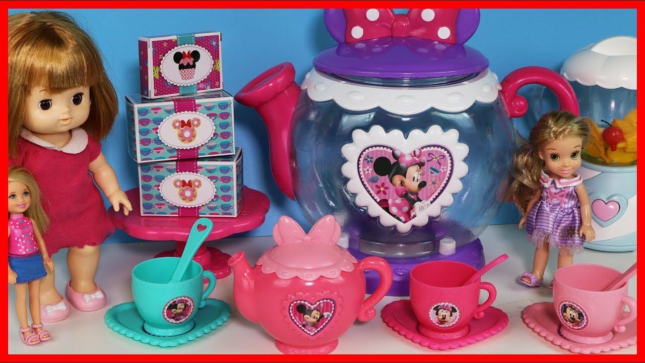 洋娃娃與迪士尼米妮的茶點禮包廚房玩具組 - YouTube