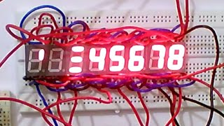 an amazing pattern in a cluster of 8 common cathode seven segment displays controlled using arduino