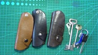 большая ключница для больших ключей на кнопке из натуральной кожи