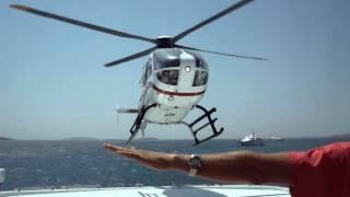 Eurocopter EC 135 Landing on yacht, Antiparos, Greece