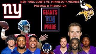 New York Giants Vs Minnesota Vikings Game Preview & Prediction! #NYGIANTPRIDE