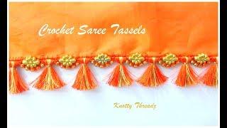 Crochet Saree Tassels Tutorial With Double Colour Kuchu | Easy Beaded Design | Www.knottythreadz.com