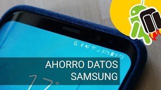 ¿El icono + en la barra superior? Ahorro de datos de Samsung