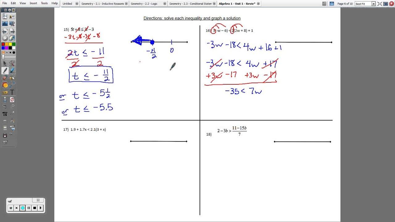 Algebra 1 Equations And Answers - algebra 1 worksheets ...