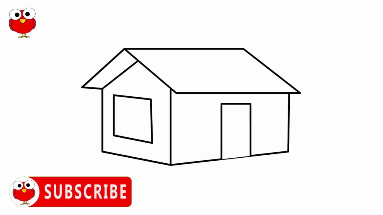 How to draw house step by step ghor aka sikhi gramer drisho