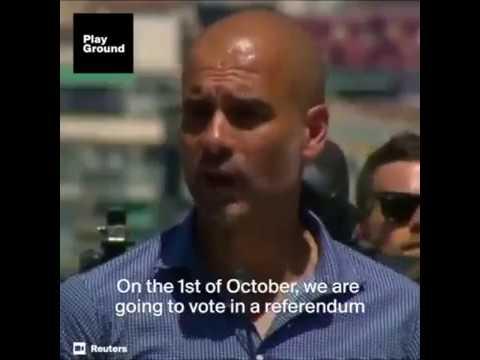 Man City Coach, Pep Guardiola leads protest for Catalonia Referendum