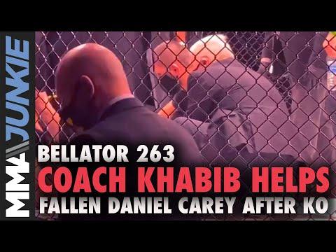 Khabib Nurmagomedov Helps Load Daniel Carey Onto Stretcher After KO Loss | Bellator 263