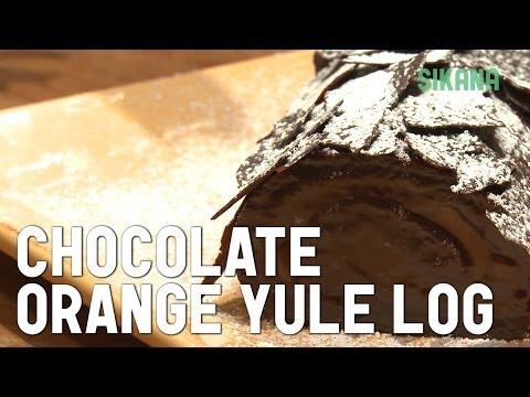 """yule log"" chocolate-orange christmas cake"