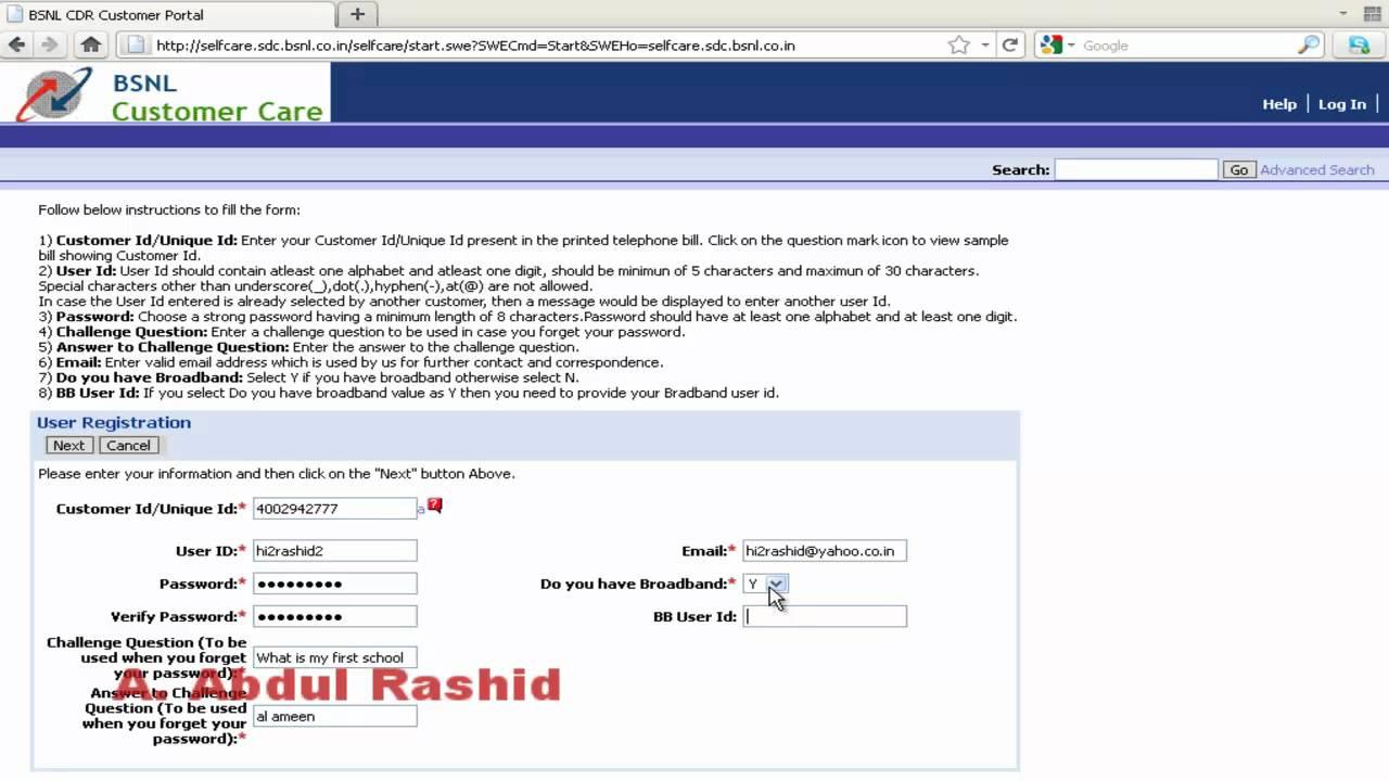 bsnl landline name change application form