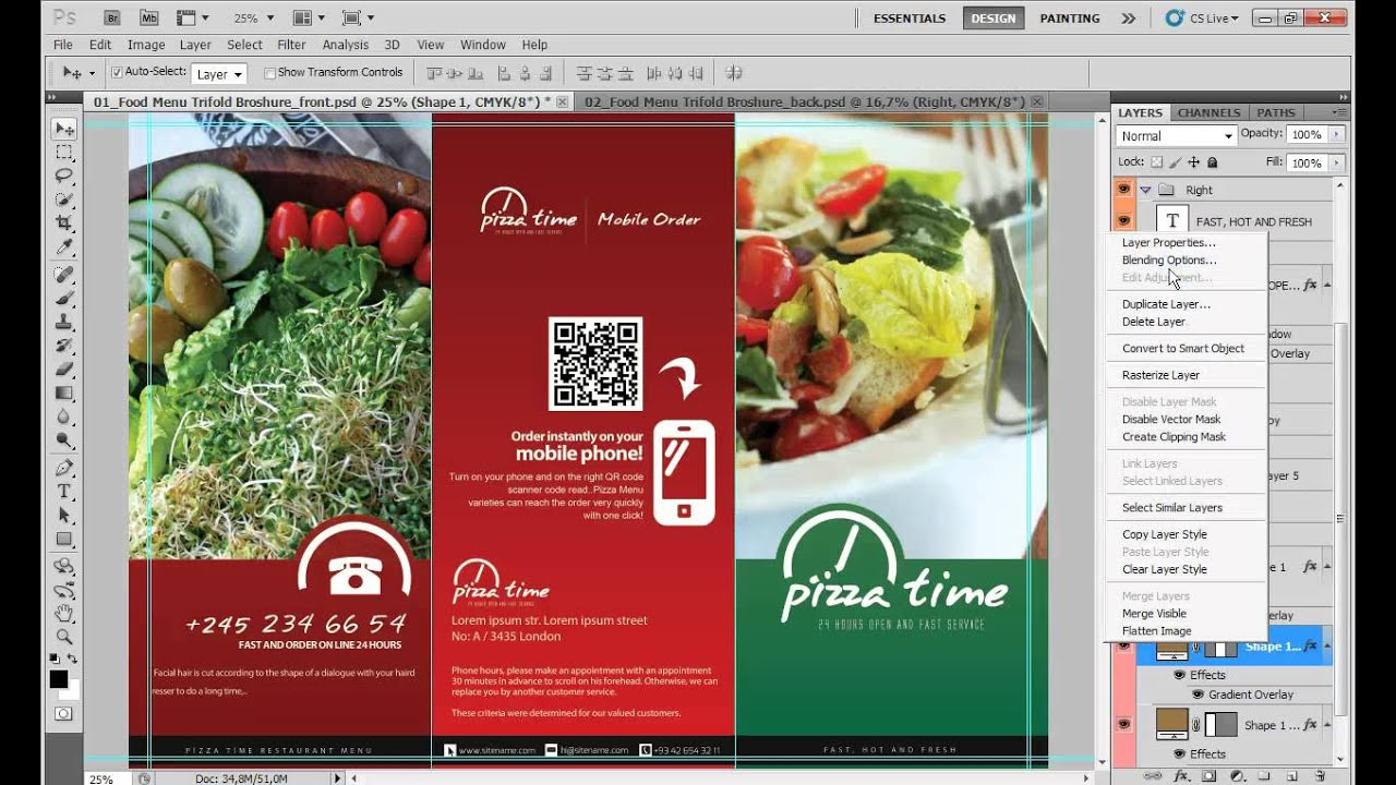 food menu tri fold brochure v1 tutorials youtube