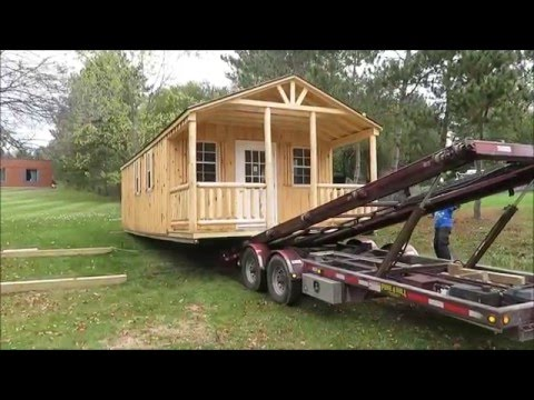 14' X 30' Amish Workshop - Tiny House Delivery With F350 And Hydraulic Trailer