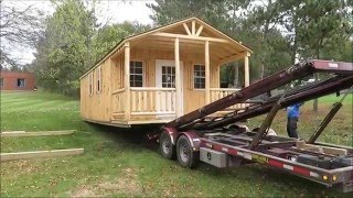 Video 14' x 30' Amish Workshop - Tiny House Delivery with F350 and Hydraulic Trailer download MP3, 3GP, MP4, WEBM, AVI, FLV Juni 2018