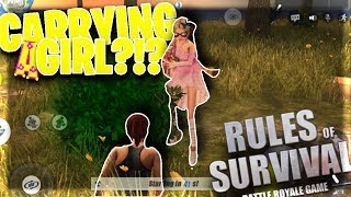 CARRYING #1 GIRL PLAYER against a HACKER in Rules Of Survival! (Full Fireteam Gameplay)