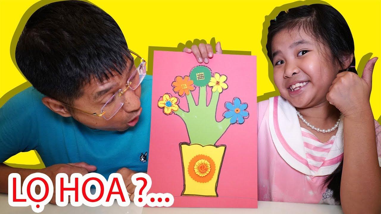 Bé Bún Vẽ Chậu Hoa Bằng Giấy Từ Bàn Tay   Drawing Paper Flower Pots From Hand