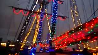 Christmas Lights onboard Irving Johnson Tall Ship