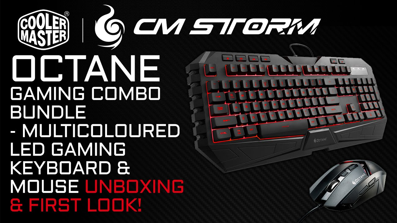 f3babbf6ae3 CM Storm Octane Keyboard & Mouse Gaming Gear Combo Bundle Unboxing & First  Look!