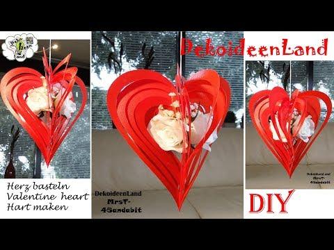 DIY: Valentinstag-Geschenk I Rosenherz & Frühlingskranz Blumendeko I Valentijnsdag DIY I Paper heart