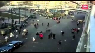 police van plows through pedestrians in Egypt.m4v