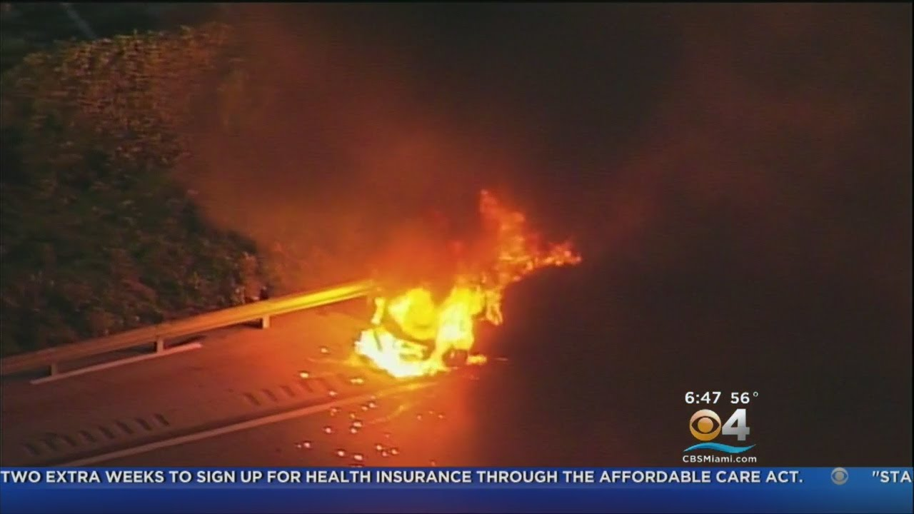 Fiery Start To Friday When A Car Went Up In Flames On I-95
