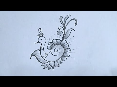 Peacock Drawing How To Draw Peacock Pencil Drawing Beautiful Peacock With Feather Drawing Youtube